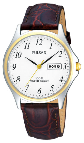 Pulsar Classic Gents Watch with Brown Leather Strap PXF294X1 1005020