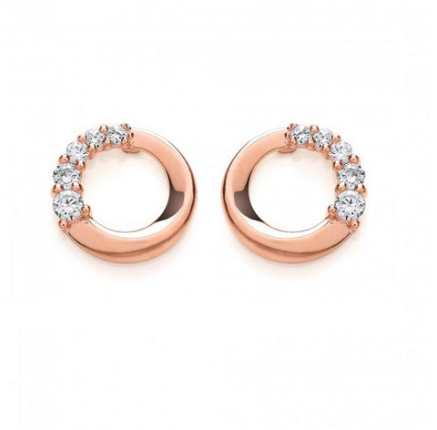 Purity 925 Rose Gold Plated & Cubic Zirconia Earrings PUR3609ES 0405124