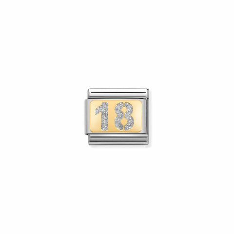 Nomination 18ct Gold & Glitter 18th Charm 030224 01