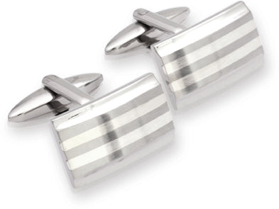 Unique & Co - Stainless Steel with Silver Inlay Cufflinks QC-58