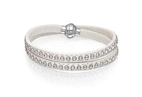 Sif Jakobs - Arezzo White Leather & White CZ 38cm Bracelet SJ-BR2359-WH/38 4005160 SALE
