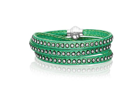 Sif Jakobs - Arezzo Green Leather with White CZ 90cm Bracelet SJ-BR2359-VN/CZ/90 4005157