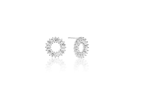 Sif Jakobs - Antella Circolo Silver & White CZ Earrings SJ-E0324-CZ 4003482 SALE