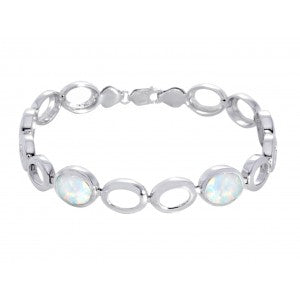 Expressions - Sterling Silver White Synthetic Opal Bracelet