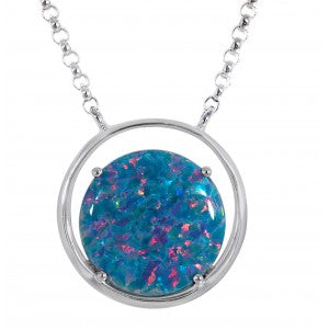 Expressions - Sterling Silver Multi Coloured Synthetic Opal Pendant 0404017