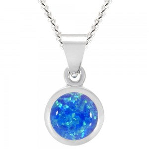 Expressions - Sterling Silver Blue Synthetic Opal 6mm Round Pendant 0402177