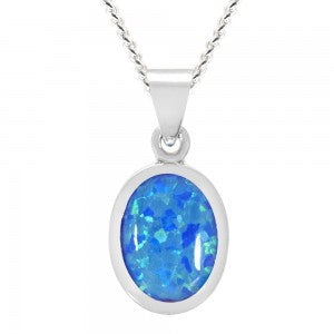 Expressions - Sterling Silver Blue Synthetic Opal Oval Pendant 0402216