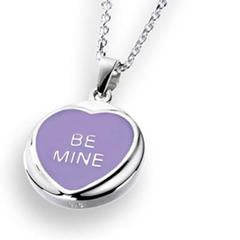 Love Hearts - Sterling Silver Lilac Enamel Be Mine Necklace SP1526CB