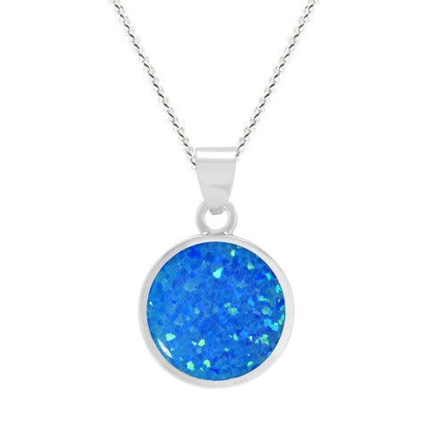 Expressions - Sterling Silver 10mm Blue Synthetic Opal Pendant 0402181