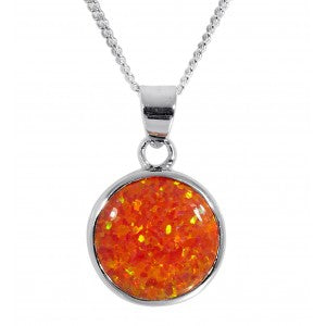 Expressions - Sterling Silver Fire Synthetic Opal Pendant 0402150