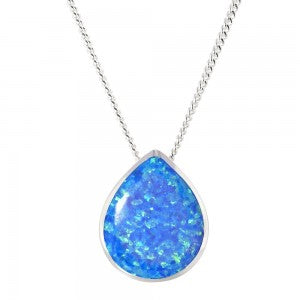Expressions - Sterling Silver Blue Synthetic Opal Pear Shaped Pendant 0402212