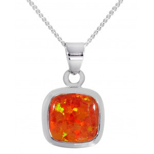 Expressions - Sterling Silver Fire Synthetic Opal Pendant 0402152