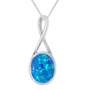 Expressions - Sterling Silver Blue Synthetic Opal Oval Pendant