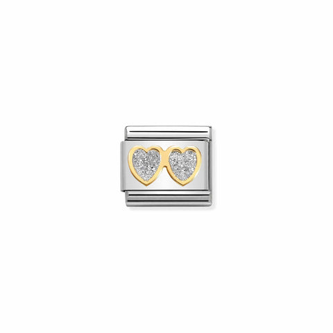 Nomination 18ct Gold & Glitter Double Heart Charm 030220 01