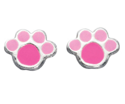 Children's Paw Print Stud Earrings A883P 0403104
