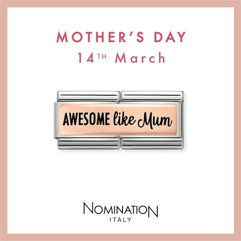 Nomination Limited Edition 9ct Rose Gold & Enamel Awesome Like Mum Double Link Charm 430711 01