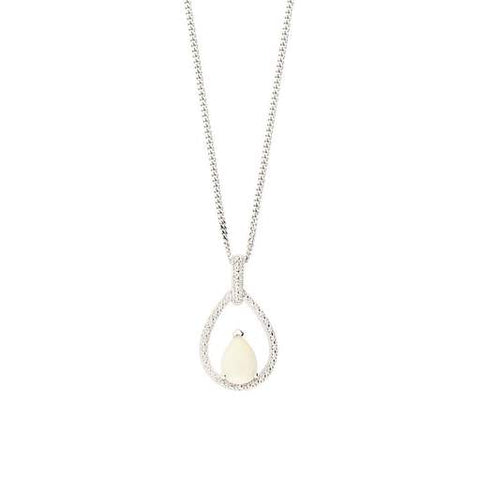 Amore Silver Opal Teardrop Necklace 90091 3104021