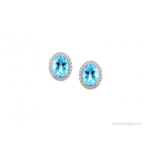 Amore Silver Topaz Cluster Stud Earrings 9121