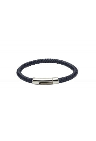 Unique & Co - Blue Leather and Stainless Steel Mens Bracelet B372BLUE