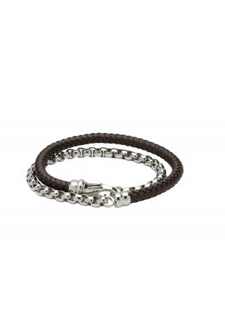 Unique & Co - Dark Brown Leather and Steel Chain Mens Bracelet B381DB