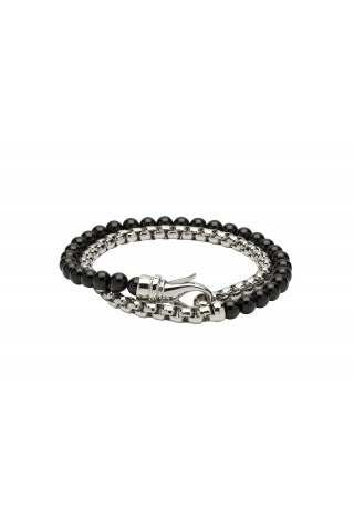 Unique & Co - Black Onyx Beads and Steel Mens Bracelet B383BLACK