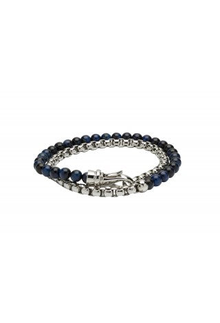 Unique & Co - Blue Tiger's Eye Beads and Steel Mens Bracelet B383BLUE
