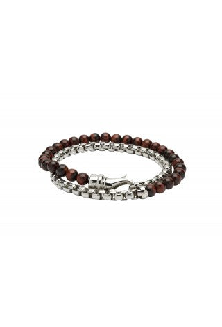 Unique & Co - Red Tiger's Eye Beads and Steel Double Length Bracelet B383RE
