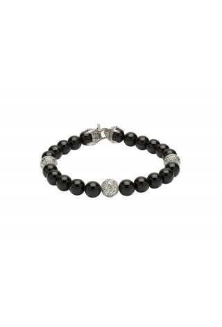 Unique & Co - Black Onyx Beads and Steel Mens Bracelet B384BLACK