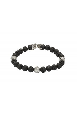 Unique & Co - Lava Rock Beads and Steel Mens Bracelet B384LAVA