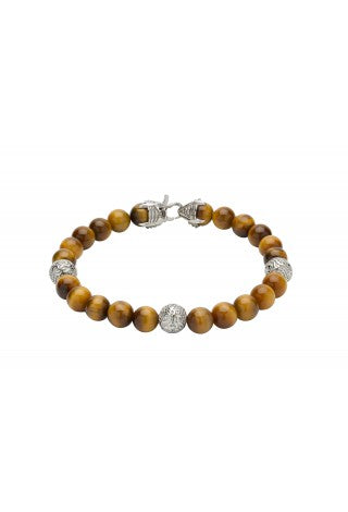 Unique & Co - Yellow Tiger's Eye Beads and Steel Mens Bracelet B384YELLOW
