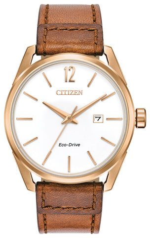 Citizen Eco-Drive Mens Brown Strap Watch BM7413-02A 1003323