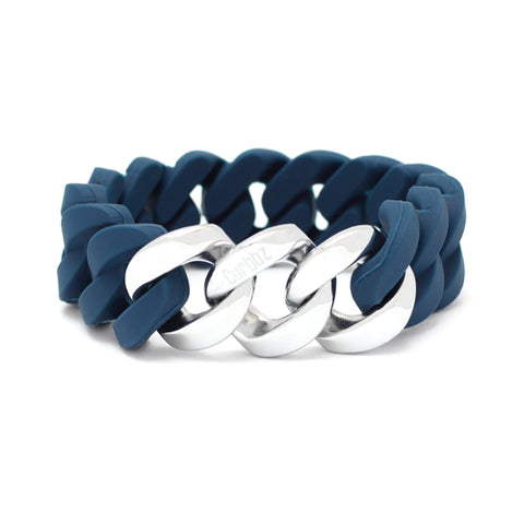 Curbbz Blue Silicone & Silver Stainless Steel Bracelet 0353059