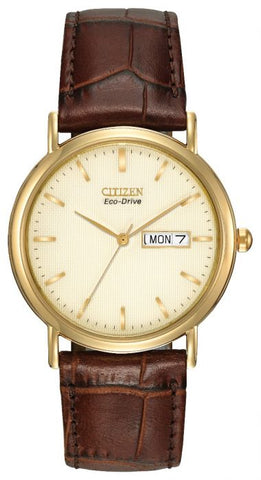 Citizen Mens Eco Drive Brown Leather Strap Watch BM8242-08P 1003002