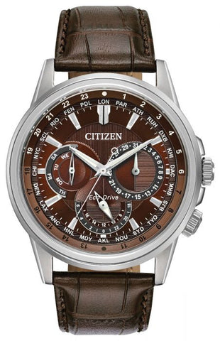 Citizen Calendrier Eco-Drive Mens Brown Strap Watch BU2020-29X 1003324