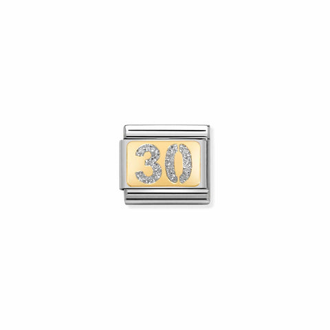 Nomination 18ct Gold & Glitter 30th Charm 030224 03