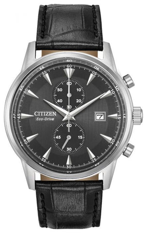 Citizen Eco-Drive Chrono Black Leather Watch CA7000-04H 1003313