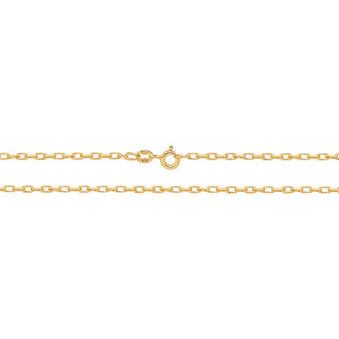 "9ct Gold Diamond Cut Belcher Chain 16"" CH124/16 0306254"