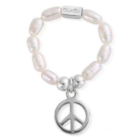 ChloBo - Pearl & Sterling Silver Peace Ring SRP2107 X