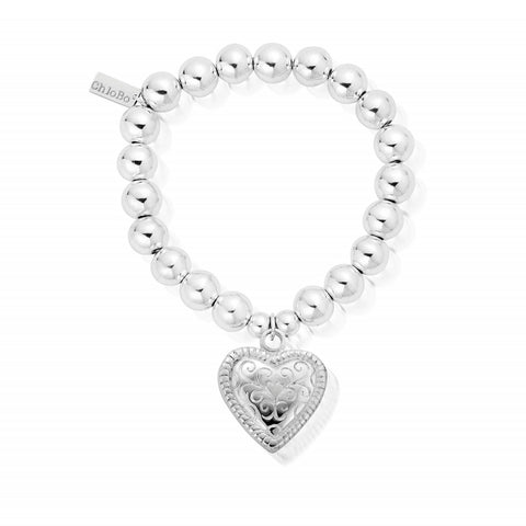 ChloBo - Medium Ball Scallop Heart Sterling Silver Bracelet SBMB014 2205051
