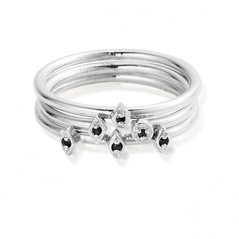 ChloBo - Sterling Silver Dark Desires Mini Stack Rings SR2271 X