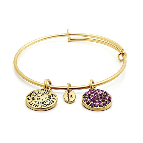 Chrysalis - February Amethyst Crystal Gold Plated Expandable Bangle 4214074 X