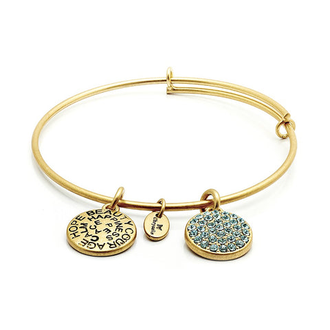 Chrysalis - March Aquamarine Crystal Gold Plated Expandable Bangle 4214076