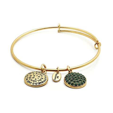 Chrysalis - May Emerald Crystal Gold Plated Expandable Bangle 4214080