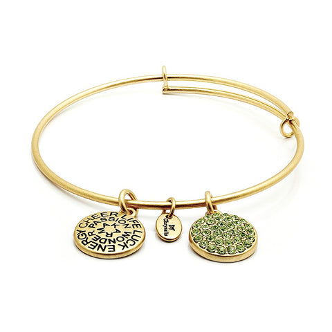 Chrysalis - August Peridot Crystal Gold Plated Expandable Bangle 4214086 X
