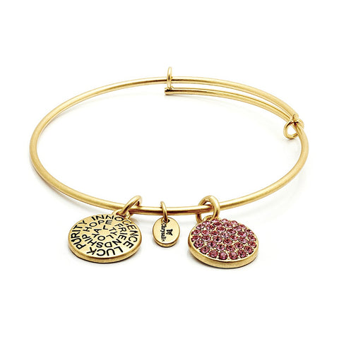 Chrysalis - October Pink Tourmaline Crystal Gold Plated Expandable Bangle 4214090