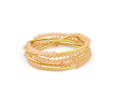 Chrysalis - Peach Blossom Eternity Elasticated Wrap Bracelet