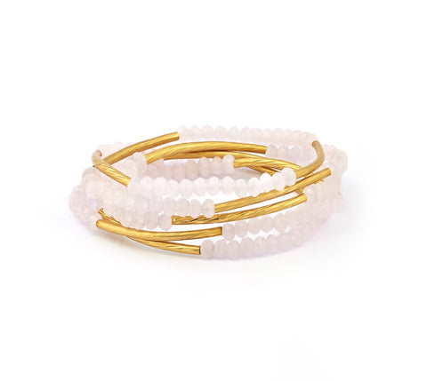 Chrysalis - Rose Pink Love Elasticated Wrap Bracelet