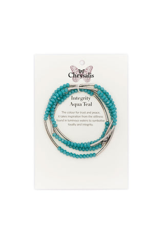 Chrysalis - Aqua Teal Integrity Elasticated Wrap Bracelet
