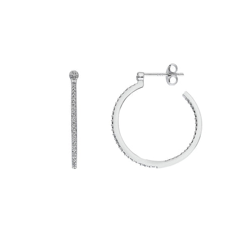 Hot Diamonds Hoops White Topaz Hoop Earrings DE623