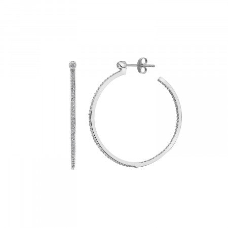 Hot Diamonds Hoops White Topaz Large Hoop Earrings DE624